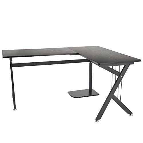 homcom A2-0081 Computertisch, Holz, schwarz, 155 x 130 x 76 cm