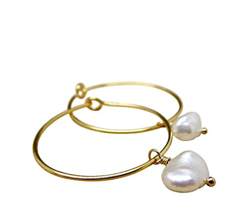 Gold Hoop Earrings With Cultured Seawater Akoya Keishi Pearls Baroque Shape...