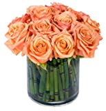 Big Apple Florist - Peach Rose Garden - Hand Delivered Bouquet - New York City Area