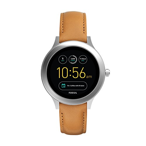 Fossil Women's Gen 3 Venture Stainless Steel and Leather Touchscreen Smartwatch, Color: Silver, Brown (Model: FTW6007) (Fossil Watch Women Heart)