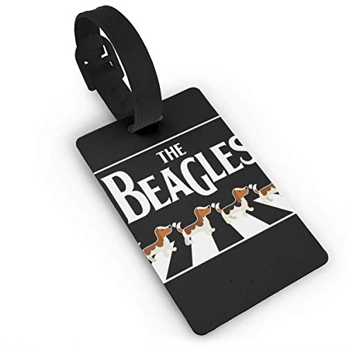 Kuytresdf The Beagles Luggage Tag Travel ID Label Set of 2 for Suitcase PVC Size 2.2'' X 3.7''