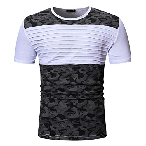 Men's Summer Patchwork Short Sleeved T-Shirt Camouflage Ruffle Outdoor Top Fitness Blouse -