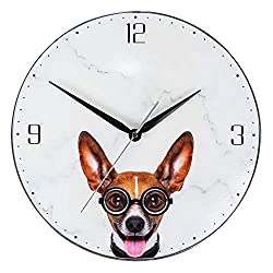 KI Store Kids Wall Clock Decorative 12-Inch Silent Non Ticking Cute Wall Clock Battery Operated Bedroom Office Kitchen (Doggie)