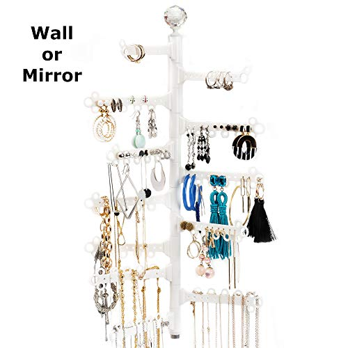 All Hung Up 12-Tier Extra Capacity Wall OR Mirror Mounted Hanging Jewelry Organizer Holder - Display Everything - Save Space - Long Necklaces, Earrings (110 Pairs), Rings, Bracelets - White