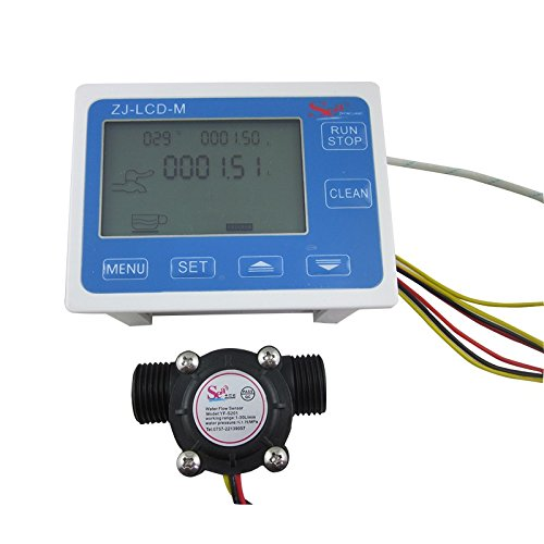"DIGITEN G1/2"" Flow Water Sensor Meter+Digital LCD Display Quantitative Control 1-30L/min"
