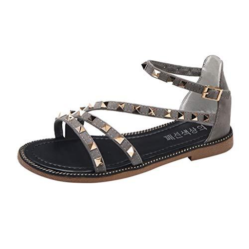 Cewtolkar Women Sandals Studded Shoes Flat Sandals Cross Strap Shoes Bohemia Sandals Loafers Shoes Roman Sandals Gray by Cewtolkar (Image #1)