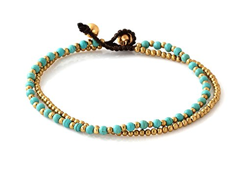 MGD, Blue Turquoise Color Bead and Brass Bell Anklet. 2-strand Anklets Beautiful Handmade Brass Anklet. Small Anklets. Ankle Bracelet. Fashion Jewelry…