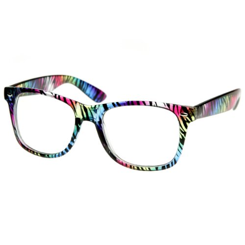 zeroUV - Multicolored Animal Print Fashion Clear Lens Horn Rimmed Style Glasses Eyewear (Zebra)