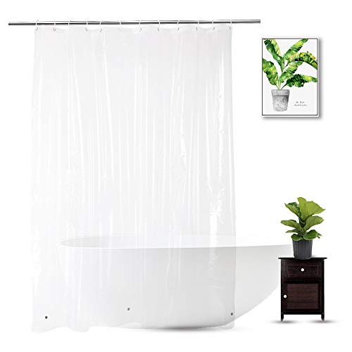 WellColor Clear Shower Curtain Liner 72 x 75 inch, PEVA Heavy Duty Shower Liner with 3 Weighted Magnets, Transparent, 100% Waterproof - Plastic Curtain Transparent