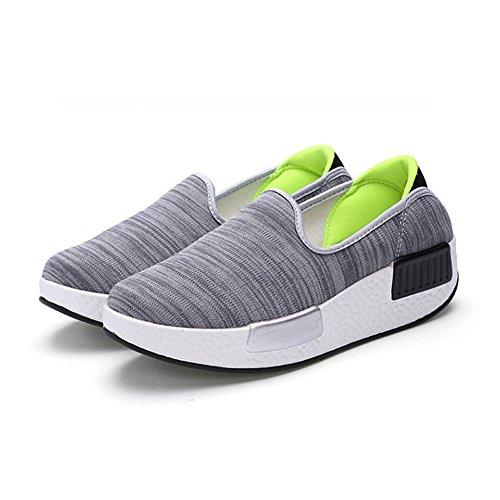 Sneakers Donna In Tela Traspirante Slip On Scarpe Casual Di Btrada Grigio Verde