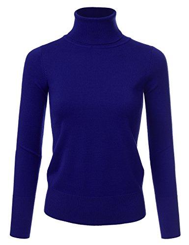 NINEXIS Women's Basic Long Sleeve Soft Turtle Neck Sweater Top RoyalBlue -