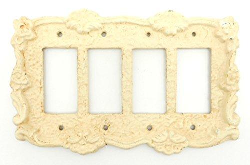 Antique White Cast iron Quad GFI Switch Cover Plate Rocker