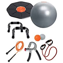 Iron Body Fitness Home Training Kit (Pro Series Fitness Ball, Dual Action Pump, Workout chart, Balance Board, Push Up Bars, Skip Rope, Massage Balls, Resistance Cord, Hand Grip)