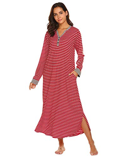 Ekouaer Christmas Striped Nightgown,Long Loungewear Lounging Housecoats (Red Stripe, X-Large)