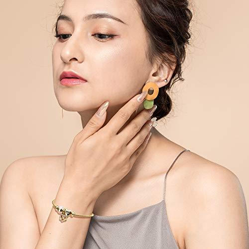 RIMAYZI 14K Gold Plated Charm Bracelet for Women, Women's Charm Symbol Bracelets, Gifts for Mother's Day, Mom, Her, Wife, Girls (Pink Love Heart)