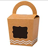[24pcs] ONE MORE Single Mini Cupcake Boxes Individual Containers With Handle and PVC Window,Disposable Kraft Paper Cupcake Holders (Brown)