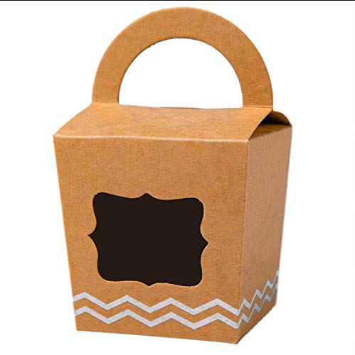 ([24pcs] ONE MORE Single Mini Cupcake Boxes Individual Containers With Handle and PVC Window,Disposable Kraft Paper Cupcake Holders (Brown) )