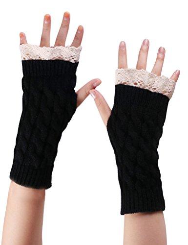 Bienvenu Womens Winter Faux Fur Crochet Warm Thumbhole Hand Fingerless Gloves Arm Warmers