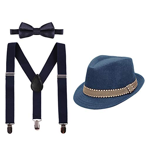 Kid Y-Back Adjustable Brace Suspender Pre-Tied Bowtie Short Trim Fedora Hat 3PCS Outfit for Boys/Girls Navy Blue