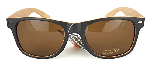 Wood Verres avec pattern Wayfarer grain de étui Bicolore rétro frame UV400 réfléchissant New soleil unisexes Lunettes xUaqgTF