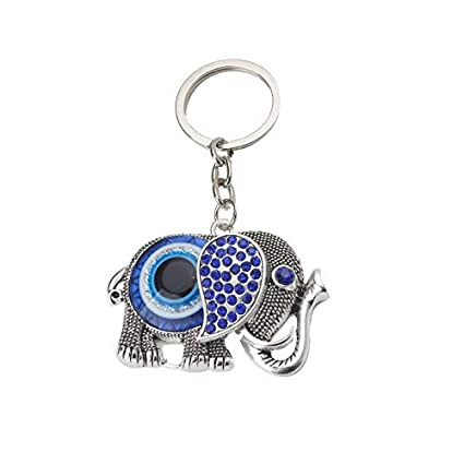 Elefante Azul Charm Llaveros Lucky Amulet Mal Ojo para Mujer ...