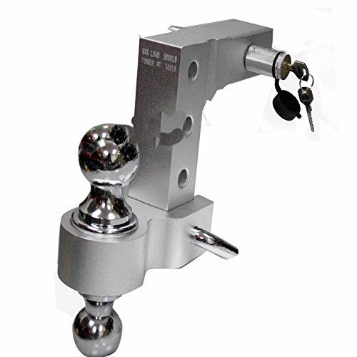 Aluminum Adjustable Raise Drop Tow Hitch Mount + Lock & 2