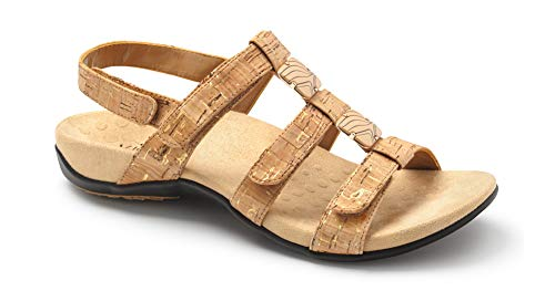 Vionic Women's Women's Rest Amber Backstrap Sandal - Ladies Adjustable Walking Sandals with Concealed Orthotic Arch Support Gold Cork 8 M US