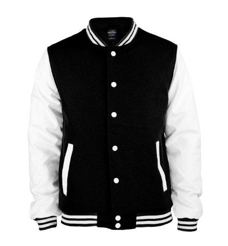 Uomo Oldschool Classics bianco College Urban Nero Giacca Bekleidung Jacket q6BxxH