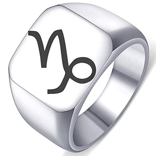 Capricorn Stainless Steel - Laser Engraved Constellation of Capricorn Symbol Sign Stainless Steel Ring Well Polished