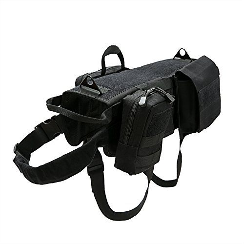 Petvins Tactical Dog Molle Vest Harness K9 Adjustable Outdoor Training Service Camouflage Harness with 3 Detachable Pouches Black Size L