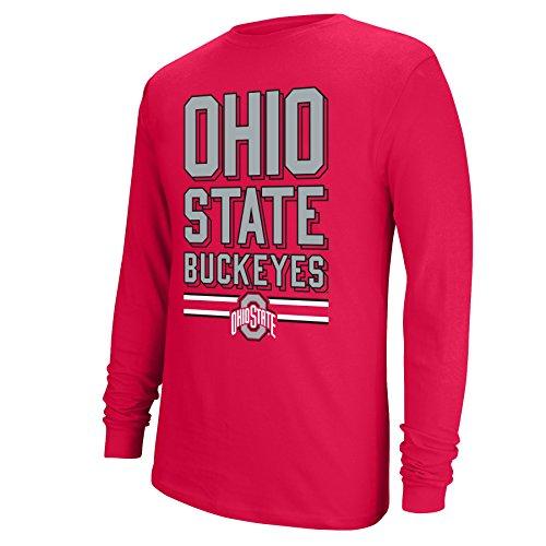 J America NCAA Ohio State Buckeyes Boys Long Sleeve Block OSU Tee, True Red, Small
