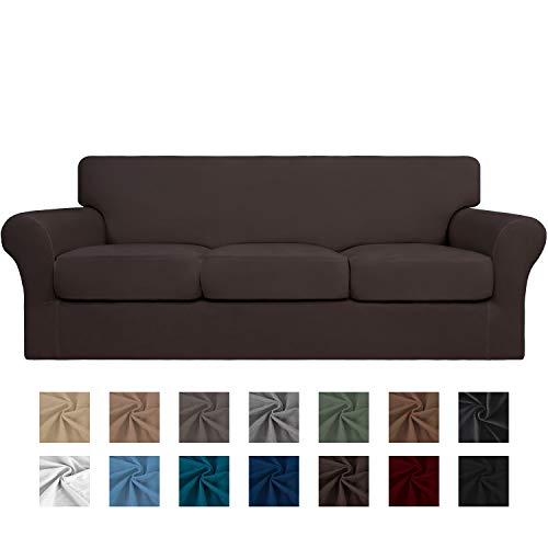 Easy-Going 4 Pieces Stretch Soft Couch Cover for Dogs - Washable Sofa Slipcover for 3 Separate Cushion Couch - Elastic Furniture Protector for Pets, Kids (Sofa, Chocolate)