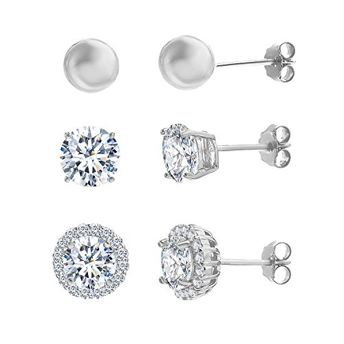 Lesa Michele Cubic Zirconia Stud Earring Set in Sterling Silver, 3 Piece