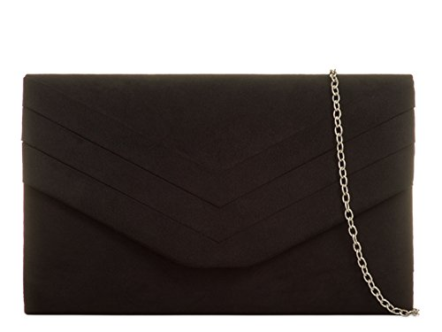 Women's 809 Leather Handbags Wedding Bag LeahWard Black Suede Bridal Clutch Prom Faux dnzqxYv