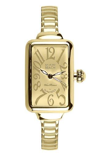 Glam Rock MBD27156 Watch Miami Beach Art Deco Ladies - Gold Dial Steel Case Quartz Movement