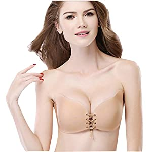Fanteecy Women's Invisible Breast Bra Lift Adhesive Push up Bra Strapless Silicone Wings of The Goddess with Drawstring