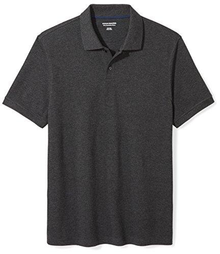 Amazon Essentials Men's Slim-Fit Cotton Pique Polo Shirt, Charcoal Heather, Large by Amazon Essentials