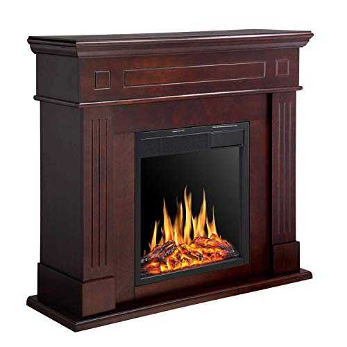 R.W.FLAME Electric Fireplace Mantel Wooden Surround Firebox, Freestanding Corner Fireplace, Home Space Heather, Adjustable Led Flame, Remote Control,750W/1500W, Brown