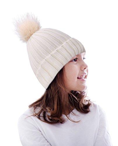 Kids Winter Warm Knit Hat Boys Girls Crochet Pompom Beanie Hat White