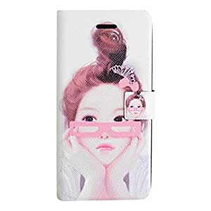 Mini - Glasses Girl PU Leather Full Body Case for iPhone 5/5S