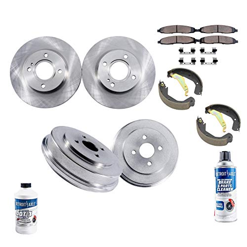 Detroit Axle - All (4) Front Brake Rotors and Rear Brake Drums w/Ceramic Pads and Shoes w/Hardware & Brake Cleaner Fluid for 2001 2002 2003 2004 2005 Honda Civic L4 1.7L