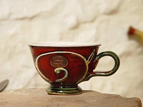 Handmade Red - Green Pottery Mug, Coffee Mug, Tea Lovers Mug, Teacup, Ceramic Mug, Danko Pottery, Wheel Thrown Mug, Xmas -