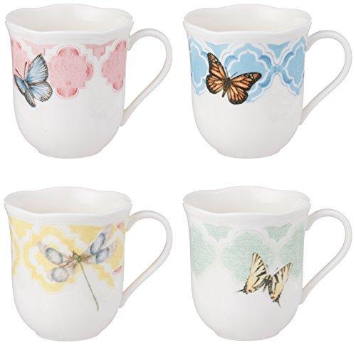 Meadow Coffee Butterfly - Lenox Butterfly Meadow Trellis Dessert Mug, (Set of 4), White