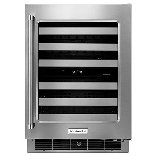 """KitchenAid® 24"""" Stainless Steel Wine Cellar with Metal-Front Racks"""