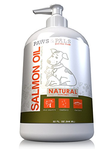 32oz Pure Wild-Alaskan Salmon Oil for Pets Omega 3 All Natural Fish Oil Liquid Food Supplement for Dogs & Cats –EPA & DHA Fatty Acids Supports Healthy Heart Restores Skin Protects Coat by Paws & Pals