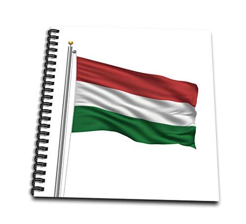 3dRose Bandera de Hungría en un poste de bandera sobre libro de dibujo húngaro blanco, 8 por 8' (db_157176_1)