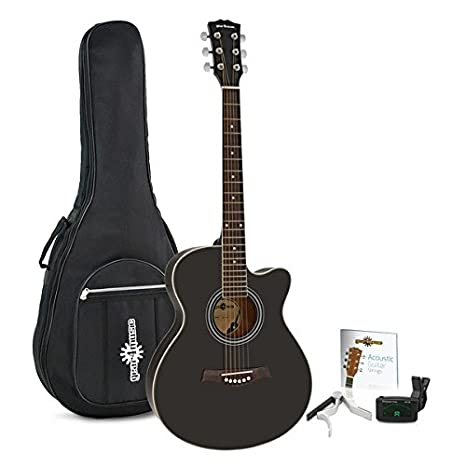 Pack de Guitarra Acústica Single Cutaway de Gear4music - Negro: Amazon.es: Instrumentos musicales