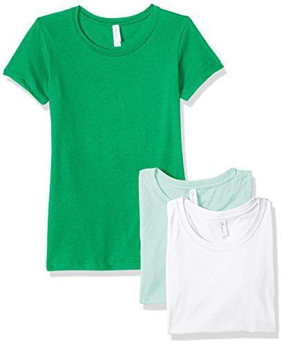 Clementine Apparel Women's Petite Plus Ideal Crew-Neck T-Shirts (Pack of 3), Kelly\Mint\White, S