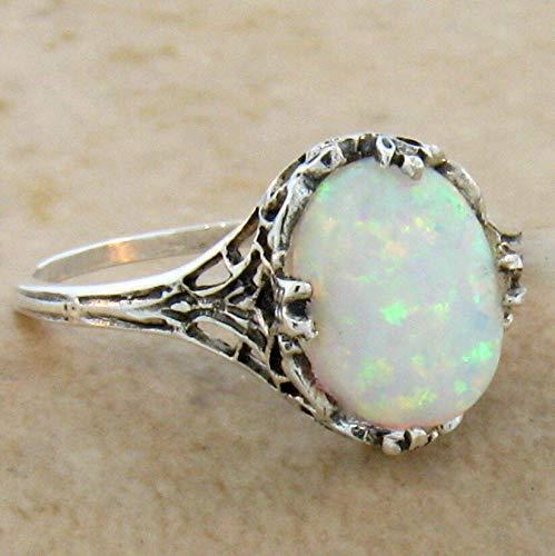 LAB Opal Antique Filigree Design .925 Sterling Silver Ring Size 7.75 KN-1979