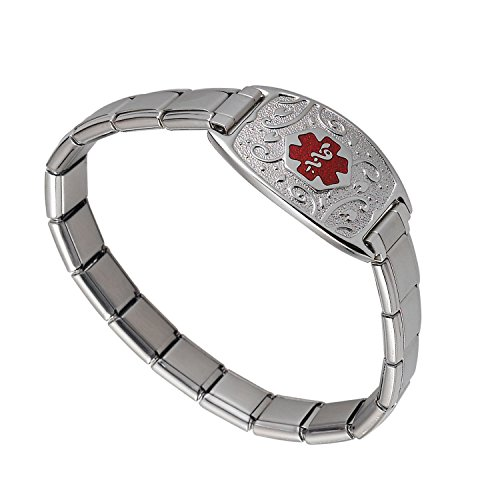- Divoti Custom Engraved Lovely Filigree Stretch Medical Alert Bracelet -Italian Charm-TP Red